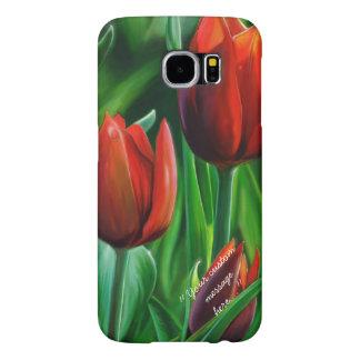 Trio av röda tulpan blommar digital målning för samsung galaxy s6 fodral