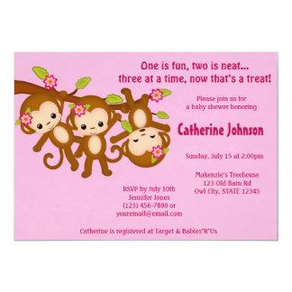 TRIPLETEN härmar baby showerinbjudanROSOR MM2 12,7 X 17,8 Cm Inbjudningskort