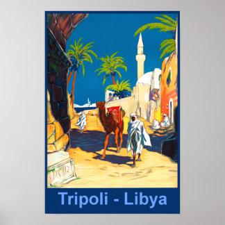 Tripoli retro Libyen reser affischen Poster