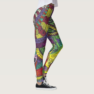 Trippy färgrik Mandala Leggings