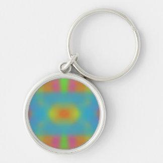 Trippy Hippie Keychain Rund Silverfärgad Nyckelring