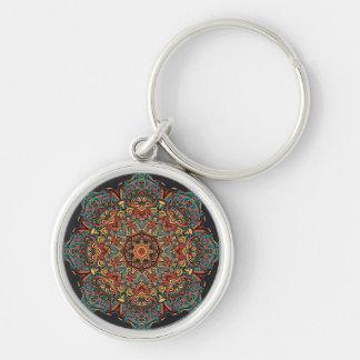 Trippy högvärdig runda Keychain för Mandala Rund Silverfärgad Nyckelring