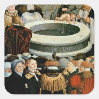 Triptych vänster panel, Philipp Melanchthon Fyrkantigt Klistermärke