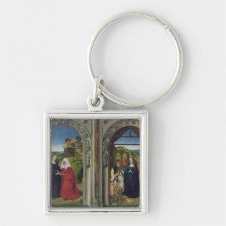 Triptychvisning annunciationen fyrkantig silverfärgad nyckelring
