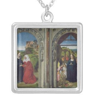 Triptychvisning annunciationen silverpläterat halsband