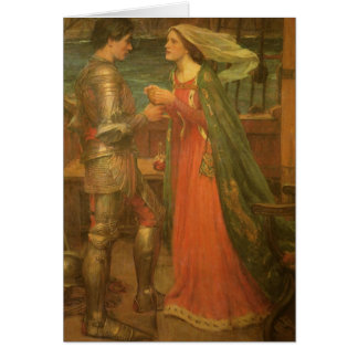 Tristan och Isolde vid waterhousen, vintagekonst Hälsningskort