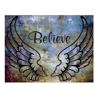Tro - ängeln påskyndar den himmelska vykortet vykort