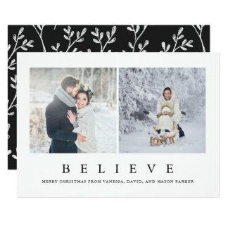 Tro fotoet för | det moderna Minimalist jul två 12,7 X 17,8 Cm Inbjudningskort