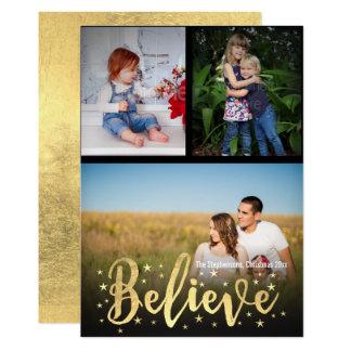 Tro guld- hälsning för foto för handstiljul 3 12,7 x 17,8 cm inbjudningskort