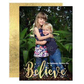 Tro guld- kort för hälsning för handstiljulfoto 12,7 x 17,8 cm inbjudningskort