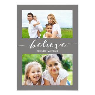 Tro helgdag två grått för fotokort | 12,7 x 17,8 cm inbjudningskort