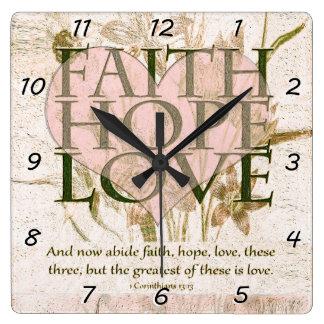 Tro, hopp och kärlek fyrkantig klocka