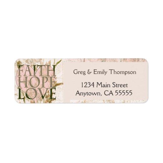 Tro, hopp och kärlek returadress etikett