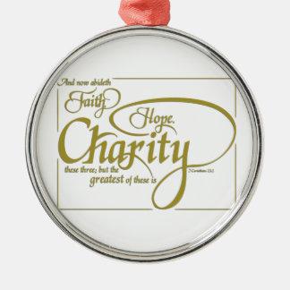 Tro hopp, välgörenhet julgransprydnad metall