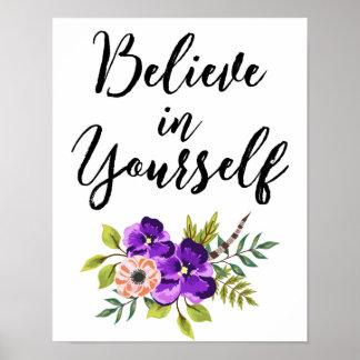 Tro i dig blom- inspirera väggkonst