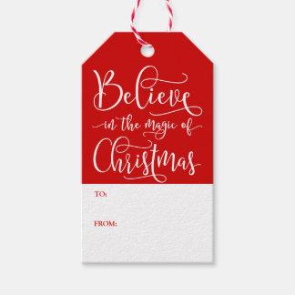 Tro i magin av jul presentetikett