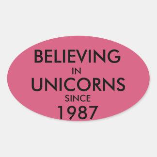 Tro i Unicorns efter 1987 Ovalt Klistermärke