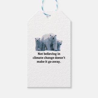 Tro inte i klimatförändring presentetikett