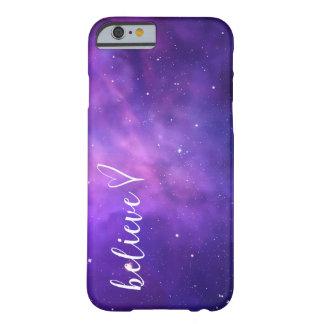 Tro med en hjärta och en galaxbakgrund barely there iPhone 6 skal