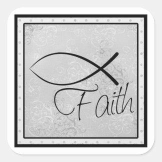 Tro och kristen fisk fyrkantigt klistermärke