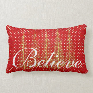 Tro på rött pricker julLumbardekorativ kudde Lumbarkudde