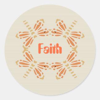 Tro, sländor i orange & solbränna på svart runt klistermärke