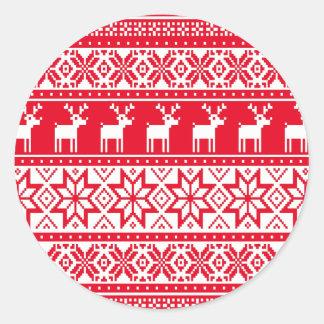 Tröja för jul för nordisk Snowflakeren ful Runt Klistermärke