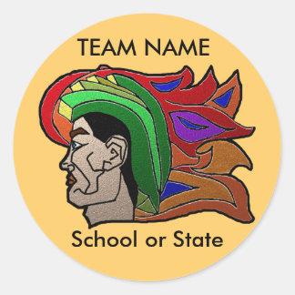 Trojan krigarehälsningkort runt klistermärke