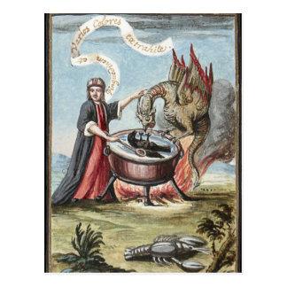 Trollkarl och drake på kitteln av alkemi vykort