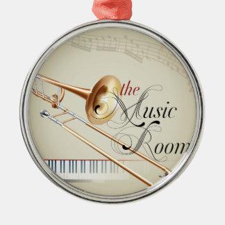 Trombonemusikrum Rund Silverfärgad Julgransprydnad