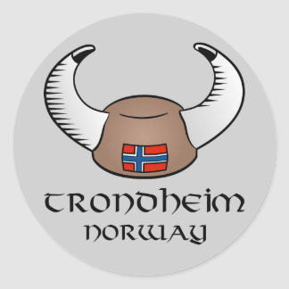 Trondheim norgeViking hatt Runt Klistermärke