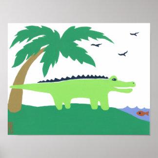 Tropisk alligatorkonstför barn, SafarihimmelLook Poster