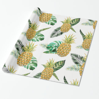 Tropisk ananas som slår in papper presentpapper