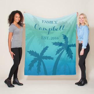 Tropisk beställnings- familj för Aquablåttpalmträd Fleecefilt