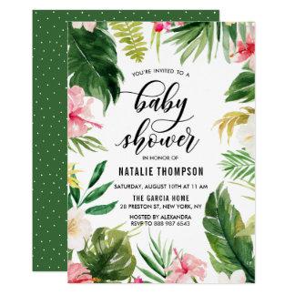 Tropisk blom- rambaby shower för vattenfärg 12,7 x 17,8 cm inbjudningskort