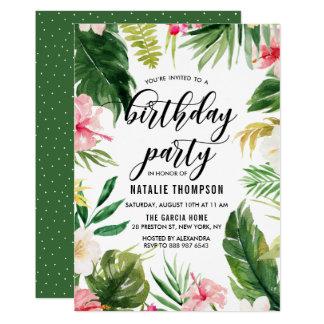 Tropisk blom- ramfödelsedagsfest för vattenfärg 12,7 x 17,8 cm inbjudningskort