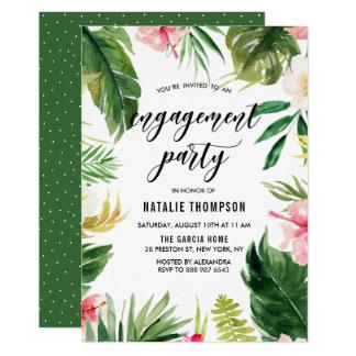 Tropisk blom- ramförlovningsfest för vattenfärg 12,7 x 17,8 cm inbjudningskort