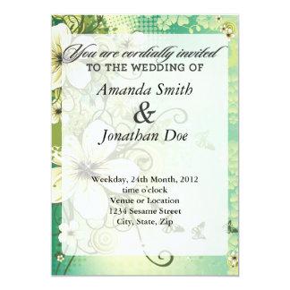 Tropisk blommabröllopinbjudan 12,7 x 17,8 cm inbjudningskort