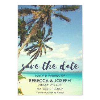 Tropisk brisstrandbröllop spara datum 12,7 x 17,8 cm inbjudningskort