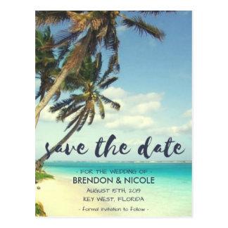 Tropisk brisstrandbröllop spara datum vykort