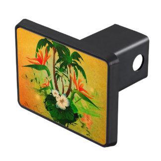 Tropisk design med blommor och palmträd skydd för dragkrok