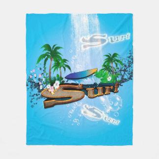 Tropisk design med surfingbrädan, handflatan och