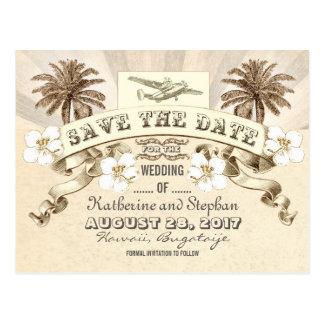 tropisk destinationsbröllop spara datum vykort