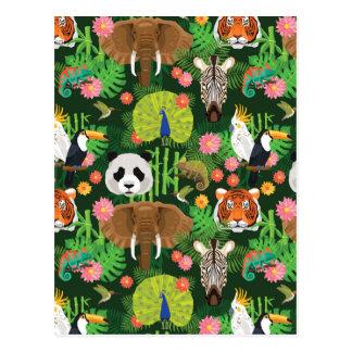 Tropisk djur blandning vykort