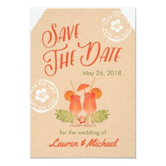 Tropisk drinkdestinationsbröllop spara datum 8,9 x 12,7 cm inbjudningskort
