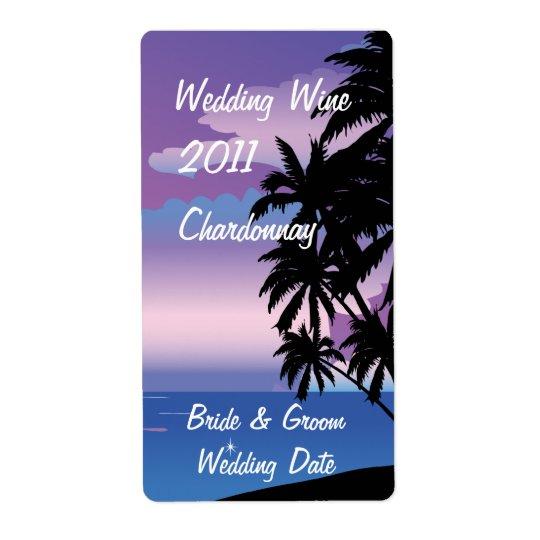 Tropisk etikett för nattbröllopvin fraktsedel