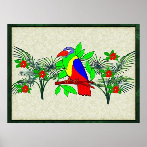 Tropisk fågel och blommor affischer