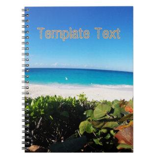 Tropisk för textmall | för strand | solig dag anteckningsbok