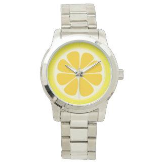 Tropisk fruktskiva för gullig saftig citrus citron armbandsur