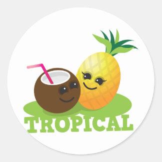 TROPISK gullig Kawaii kokosnöt och ananas Runt Klistermärke
